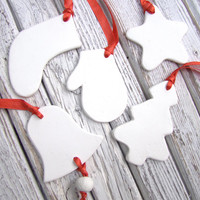 Set of 5 White Christmas Decorations. Christmas ornament. Home decor.Christmas decor from clay. Christmas Gift.