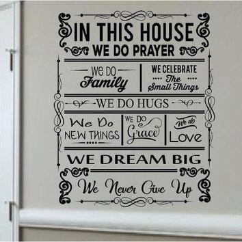 In This House We Do Prayer, Wall Mural Vinyl Graphic Decal