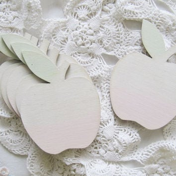 FREE SHIPPING - White and Pastel Tinted Shabby Chic Wooden Coasters - Trivets - Kitchen Decor - Sweet Apples - Distressed Shabby Chic