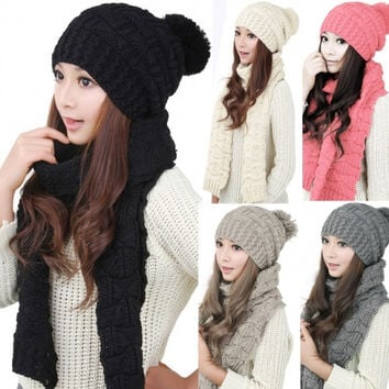 Women's Winter Knitted Scarf And Hat Set Thicken Knitting Skullcaps
