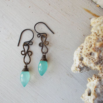 Artisan faceted blue aqua chalcedony marquise S shape earrings, oxidized brass, rustic stone jewelry, bohemian dangle style, dew drops