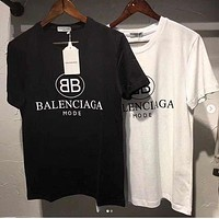 Balenciaga Summer Hot Sale Women Men Tunic T-Shirt Top Blouse
