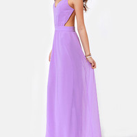Purple Strappy Cross-Back Chiffon Maxi Dress