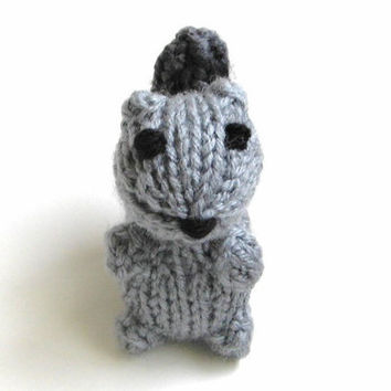 Miniature Gray Squirrel Amigurumi - Tiny Hand Knitted Stuffed Animal - Plush Doll - Kids Toy Knit Toy Knit Animal Squirrel