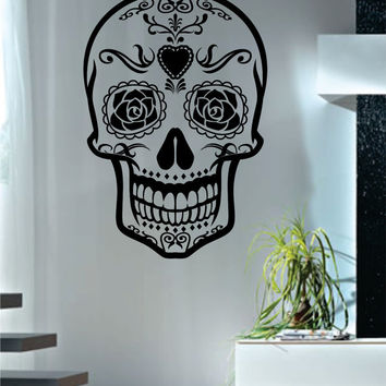 Sugar Skull Version 4 Decal Sticker Wall Vinyl Day of the Dead