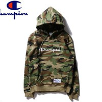 Champion Tide brand classic camouflage embroidered letter hooded hoodie