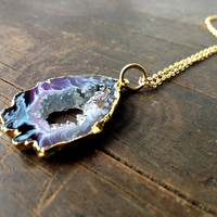 Agate druzy necklace - long necklace, gold necklace, gemstone necklace, druzi drusy pendant