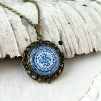 Blue White Gzhel Necklace, Antique Bronze Pendant, Russian Folk Art, Glass Cabochon Pendant With Chain