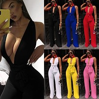 Women Sexy Backless Lace Up Sleeveless Wide Leg Jumpsuit