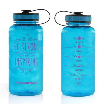 ONETOW 34oz Motivational Bottle Fitness Workout Sports Water Bottle with Unique Timeline | Measurements | Goal Marked Times For Measuring Your Daily Water Intake, BPA Free Non-toxic Tritan