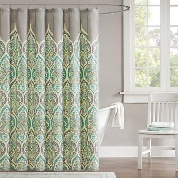 Madison Park Tara Fabric Shower Curtain (Green)