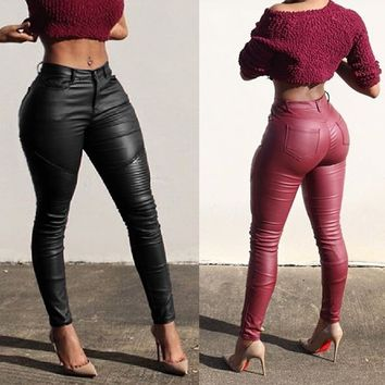 NEW Sexy Women Skinny Jeggings Stretchy Slim Leggings Fashion Leather Lace Pants