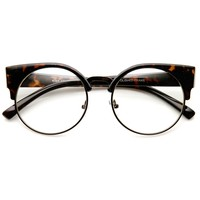 Womens Half Frame Semi-Rimless Clear Lens Cat eye Round Glasses