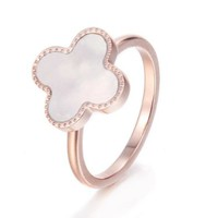 White or Black Resin Gemstone Clover Shamrock VC Gold Plated Titanium Ring