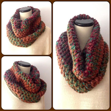 Autumn Colored Scarf - Knit Cowl Scarf - Chunky Cowl - Rustic Scarf - Fall Scarf - Unisex Scarf