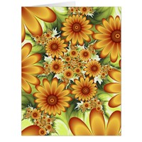 Floral Dream, Modern Abstract Flower Fractal Art Card