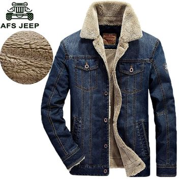 Mens Winter Parka AFS JEEP Quality Outwear Miltary Style Denim Jackets Coat Warm Winter Dress Men Clothing 140