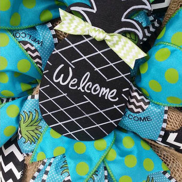 Welcome Pineapple Wreath Pineapple Decor Chevron Pineapple Wreath Turquoise Pineapple Decor Welcome Decor Small Welcome Wreath Chalkboard