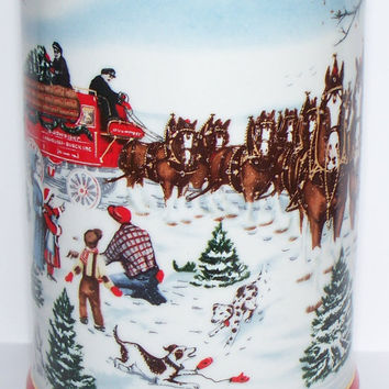 The Season's Best Budweiser Stein 1991 Collector's Series Anheuser Busch Christmas Holiday Art by Artist Susan Sampson Brazil Ceramarte
