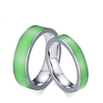 Green Silicone Luminous Mood Glow in the Dark Rings Womens Men Stainless Steel Wedding Ring Engagement Band Fashion Jewelry Gift