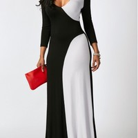 Color Block Long Sleeve Maxi Dress | modlily.com - USD $31.40