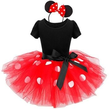 Polka Dot Minnie Party Dress +Headband