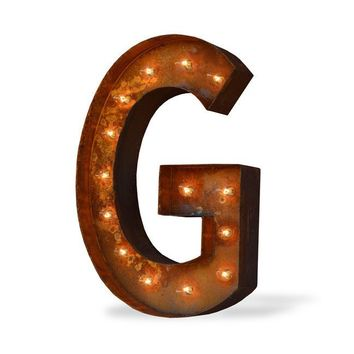 "12"" Letter G Lighted Vintage Marquee Letters (Modern Font/Rustic)"