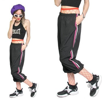 90s Striped Joggers - Track Pants Hiphop Warm Up Pants Trousers - Tracksuit Bottoms - Stripe Sporty Pants Oversized Baggy Casual  Black Pink