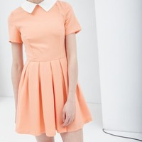Peach Contrast Collar Box Pleat Skater Dress - from Lavish Alice UK