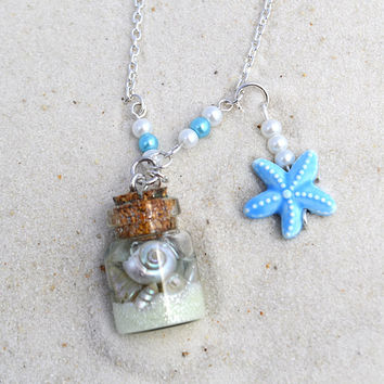 beach theme wedding, ocean in a bottle, beach lover gift, glass vial jewelry, Seashell necklace, ocean necklace, beach jewelry, glow in dark
