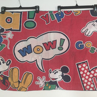Mickey Mouse Pillowcase, 1970s Vintage Disney Pillowcase, 70s Vintage Mickey Mouse Character Pillowcase, Vintage Kids Pillowcase Disney Sham