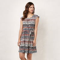 Women's LC Lauren Conrad Abstract Stripe Pleated Shift Dress