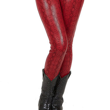 Red Snake Faux Leather Couture Leggings