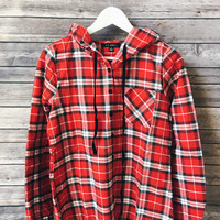 Plaid Hooded Button Down (Red)