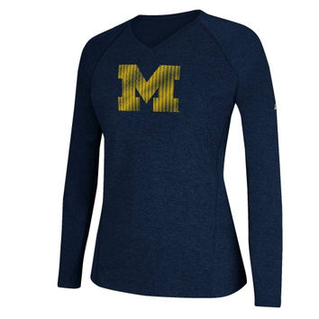 Michigan Wolverines adidas Women's ClimaLITE Razor Long Sleeve T-Shirt – Navy Blue