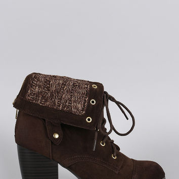 Qupid Sweater Cuff Lace Up Bootie