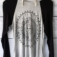 Live by the Sun, Love by the Moon Women's Baseball Hoodie