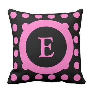 Personalized black and hot pink polka dots throw pillow