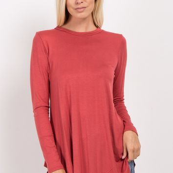 Rust Basic Long Sleeve Maternity Top