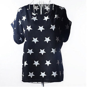 Women's Black and White Star Summer Top Blouse Shirt