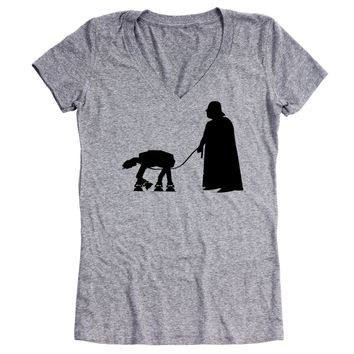 At-At Walker Women's Relaxed Fit V-Neck Tri-Blend T-Shirt