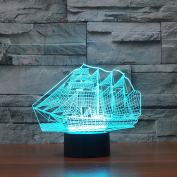 Creative 3D Sailing Ship Shape 7-Color LED Night Light USB Table Desk Lamp Decor