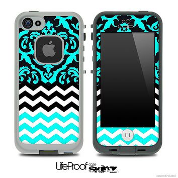 Mirrored Turquoise V1 Chevron Pattern Skin for the iPhone 5 or 4/4s LifeProof Case