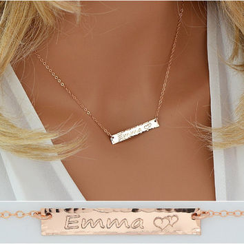 Personalized Necklace Bar, Gold Bar Necklace, Hammered Necklace Bar, Engraved Necklace Gold, Silver, Rose Gold, Name Bar Necklace,  5x35