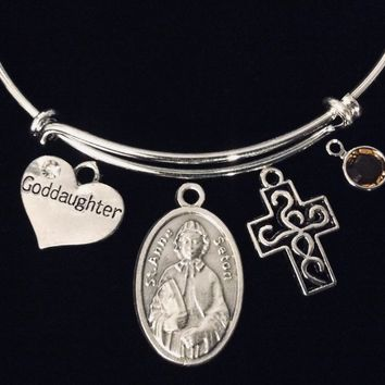 Saint Elizabeth Anne of Seton Jewelry Expandable Charm Bracelet Silver Adjustable Bracelet Catholic Jewelry Patron Saint