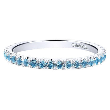 14K White Gold Aquamarine Stackable Birthstone Ring