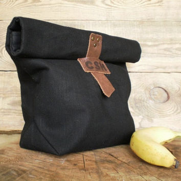 Waxed canvas, Reusable Lunch Bag, Food bag, Personalized groomsmen gift, Lunch bag monogram, Lunch tote, Water resistant bag, Leathet