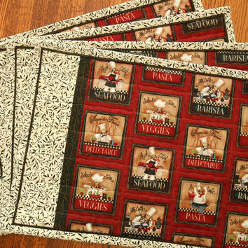 Bistro Chefs Quilted Placemats Set of 4 in Red Black and White