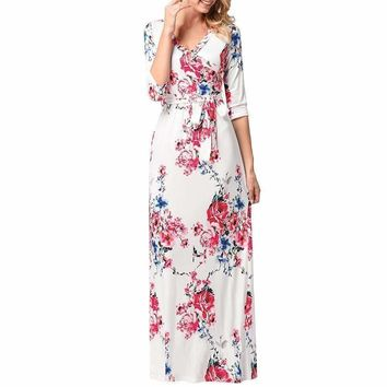 SHIPS FROM USA Summer Women Bohemian Floral Printed Maxi Dresses Ladies Half Sleeve V-Neck Casual