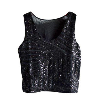 Women Blouses   blouse Sequins Solid Sleeveless Women Shirt Tops Blouses For Ladies ropa mujer,camisas femenina GS